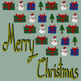 Christmas Greeting Card, Merry Christmas, Snowman and gift box Stock Image