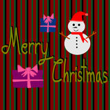 Christmas Greeting Card, Merry Christmas, Snowman and gift box Stock Images