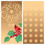 Christmas greeting card. Merry Christmas and Happy New Year! - quote and bird Red Cardinal on a branch of holly on a golden background. Vector greeting card Stock Images