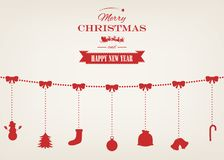Christmas greeting card with merry christmas and happy new year wishes.. Christmas design elements. Vector illustration Royalty Free Stock Photo