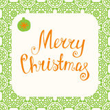 Christmas greeting card. Merry Christmas - lettering card.  Decoration element for cards, invitations and other types of holiday design. Vector illustration Royalty Free Stock Photos