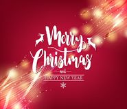 Christmas Greeting Card, Merry Christmas Typography in Red Abstract Background. With Lights and Sparkles Creative Design for Holiday Season. Vector Illustration Royalty Free Stock Photography