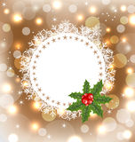 Christmas greeting card with mistletoe Royalty Free Stock Photography