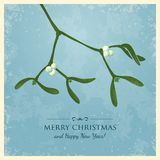 Christmas Greeting Card with Mistletoe Stock Photos