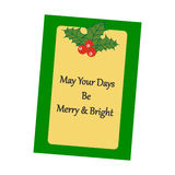 Christmas Greeting Card. Mistletoe on the yellow background. Vector illustration Stock Photo
