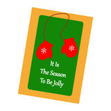 Christmas Greeting Card. Mittens on the green background. Vector illustration Stock Photography