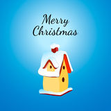 Christmas Greeting Card with nesting box. Royalty Free Stock Images