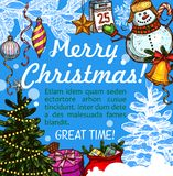 Christmas greeting card for New Year holidays. Christmas greeting card for New Year winter holiday design. Xmas tree, snowman and gift sketch poster, adorned Royalty Free Stock Image