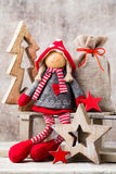 Christmas greeting card. Noel gnome background. Christmas symbol Stock Photos