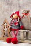 Christmas greeting card. Noel gnome background. Christmas symbol Stock Photos