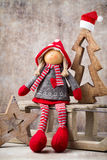 Christmas greeting card. Noel gnome background. Christmas symbol Stock Photography