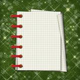 Christmas greeting card with notebook Royalty Free Stock Photo