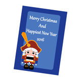 Christmas Greeting Card. The Nutcracker on the blue background. Vector illustration Stock Photo