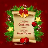 Christmas old paper scroll greeting card Royalty Free Stock Photo