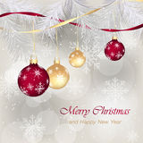 Christmas greeting for card. Ornamented Christmas bauble, needles and snowflakes. Stock Photos
