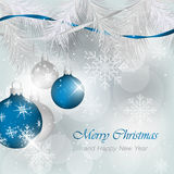 Christmas greeting for card. Ornamented Christmas bauble, needles and snowflakes. Stock Photo
