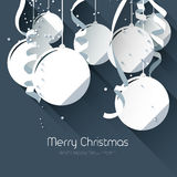 Christmas greeting card. With paper baubles on blue background - flat design style Stock Image