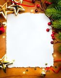 Christmas greeting card paper on red backgroun Royalty Free Stock Photos