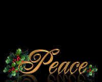 Christmas greeting card Peace on black Stock Photos