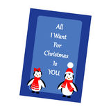 Christmas Greeting Card. Penguins on the blue background. Vector illustration Stock Photography