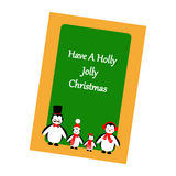 Christmas Greeting Card. Penguins Family on the green background. Vector illustration Stock Photography