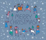 Christmas greeting card with people with gifts and christmas tre Royalty Free Stock Image