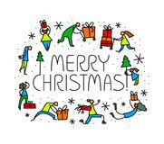 Christmas greeting card with people with gifts and christmas tre Stock Photo