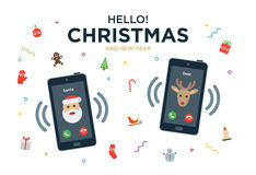 Christmas Greeting Card with phone call from Santa Stock Photography