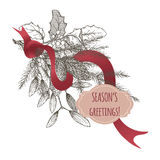Christmas greeting card with pine branch. Mistletoe and ribbon on white background. Based on hand drawn sketch Stock Photos