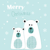Christmas greeting card with  polar bears Royalty Free Stock Images