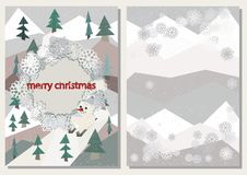 Christmas greeting card cover template, polygonal firs trees, shabby winter decor, snowman on skis. Christmas greeting card, polygonal firs trees, shabby winter Stock Photos