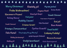 Christmas greeting card, polylanguage Stock Images
