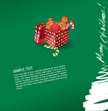 Christmas greeting card - present, sweet, gingerbr Stock Image