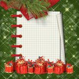 Christmas greeting card with presents Royalty Free Stock Photography