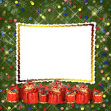 Christmas greeting card with presents Stock Photography