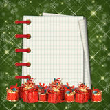 Christmas greeting card with presents Stock Photo