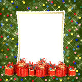 Christmas greeting card with presents on the abstract background Royalty Free Stock Photos