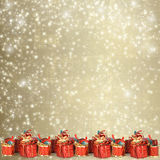 Christmas greeting card with presents Royalty Free Stock Images