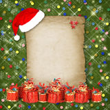 Christmas greeting card with presents Stock Image