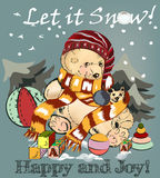 Christmas greeting card with pretty  plush bear and Xmas tree Royalty Free Stock Images