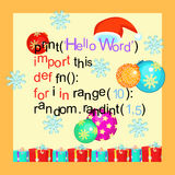 Christmas greeting card programming code, snowflake. vector illu Royalty Free Stock Photos