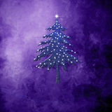 Christmas greeting card purple background. Christmas greeting card, fir tree with stars, on purple background with empty space for write message Royalty Free Stock Photos
