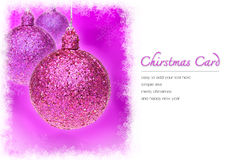 Christmas greeting card. Purple Christmas ball and purple bokeh background with copy space and snowflakes border. easy to add your text Stock Image