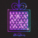 Christmas Greeting card. Purple glitter gift box with bow. Royalty Free Stock Images