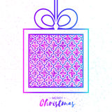 Christmas Greeting card. Purple glitter gift box with bow. Stock Image