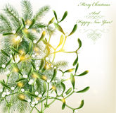 Christmas greeting card with realistic Royalty Free Stock Photo