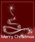 Christmas greeting card in red with artistic tree Stock Photo
