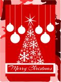 Christmas greeting card in red with artistic tree Royalty Free Stock Photos