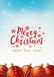 Christmas card with red balls. Christmas greeting card with red balls stock illustration