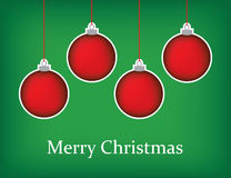 Christmas greeting card with red baubles and merry christmas tex Stock Images